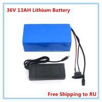 36V lithium battery 36V 13AH with PVC case for electric bike 36 V Ebike battery With BMS 42V 2A charger free shipping