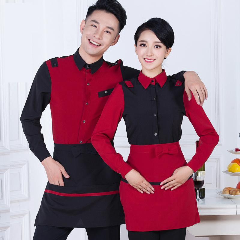 Hotel Uniform Autumn And Winter Hot Pot Restaurant Waiter Female Clothing Hotel Restaurant Long Sleeved Frock J283