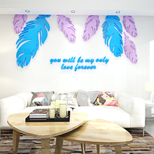 Colorful Feather acrylic Wall Stickers Bedroom Decor Living Room Home Decor wall sticker цены