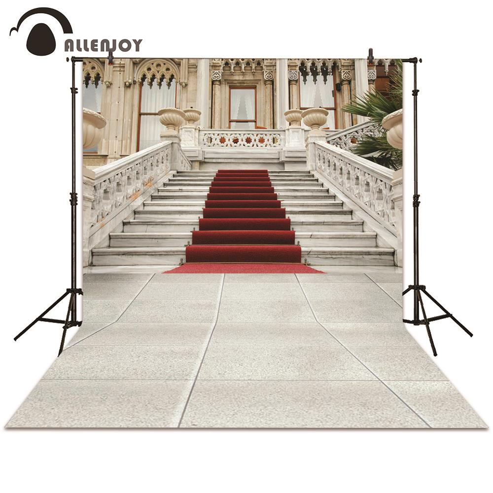 Allenjoy photography backdrop European palace red carpet stairs retro photographic background photo studio photocall european retro red