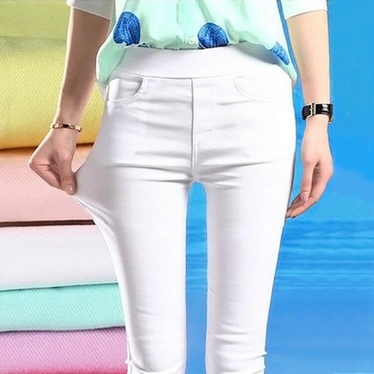 2019 New Autumn Spring Ankle Length Pants Women Casual White Trousers Elastic Waist Plus Size Pencil Pants Black Slim Pants