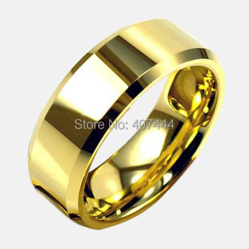 Free Shipping YGK JEWELRY Hot Sales 8MM Polish Gold Bevel Comfort Fit Men's Lord Fashion Tungsten Wedding Rings