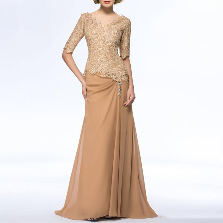 Elegant Chiffon V Neck 1/2 Sleeves Gold Lace Mother Of The Bride Dress Plus Size Vestidos Madre Novia