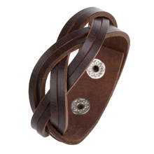 Creative Vintage Genuine Leather Bracelets Fashion Brown Punk Cuff Bracelets & Bangles for Women Men Jewelry Accessory FS053