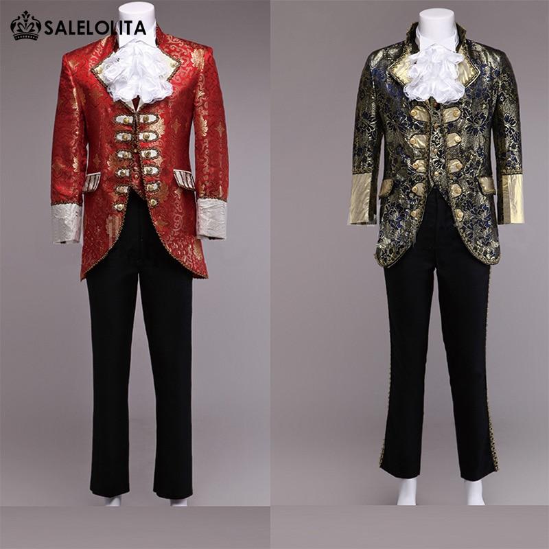 Renaissance Medieval Men Suit Helloween Party King Prince Suit Set COS Costume