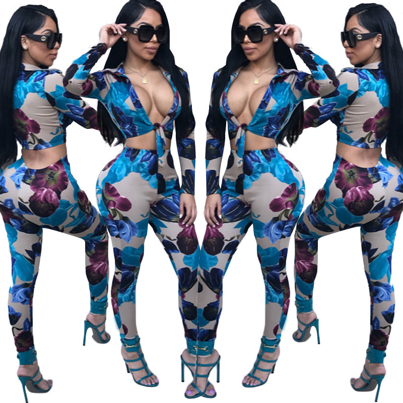 Fashion Flower Printed Women 2 Piece Set Casual Tracksuit V Neck Longs Sleeve Cropped T Shirt Tops + Long Pants Outfit Set