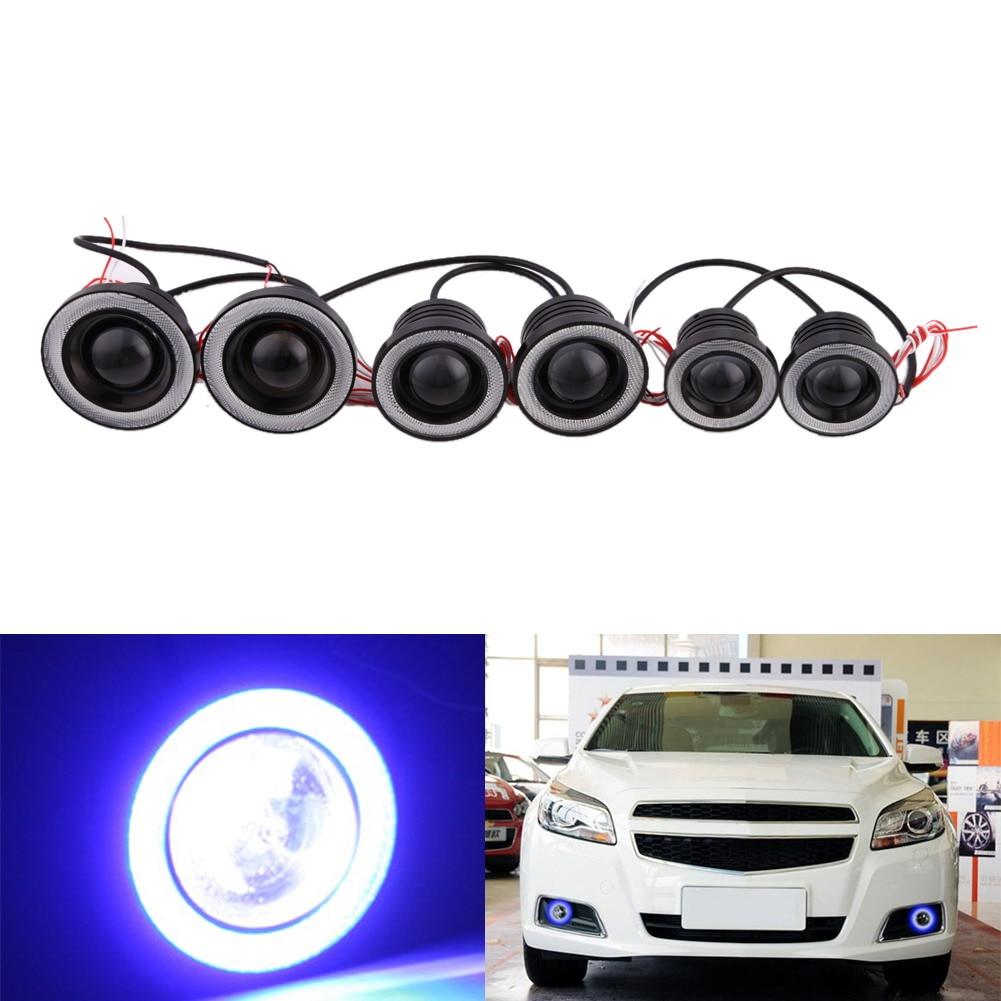 все цены на High Quality  Ip65 Waterproof 3200LM 12V Car Light Car Foglight Assembly with 20W COB LED Lens Angel Eyes Fog Lamp ME3L онлайн