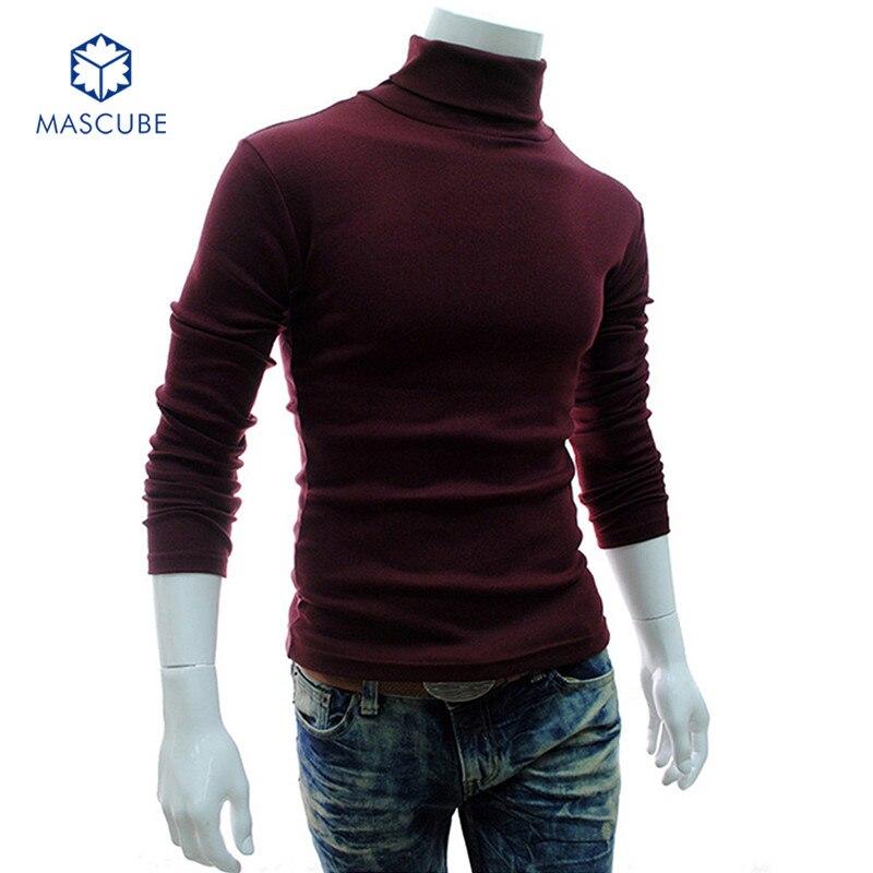 Winter Thick Bottom Sweater Men Turtleneck Brand Blended ...
