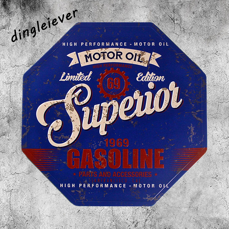 """Vintage Metal Sign Plaque """"Motor Oil Superior benzin 1969"""" Garage sign Pub Bar Home Wall Դեկոր երկաթյա Նկարներ NA25"""