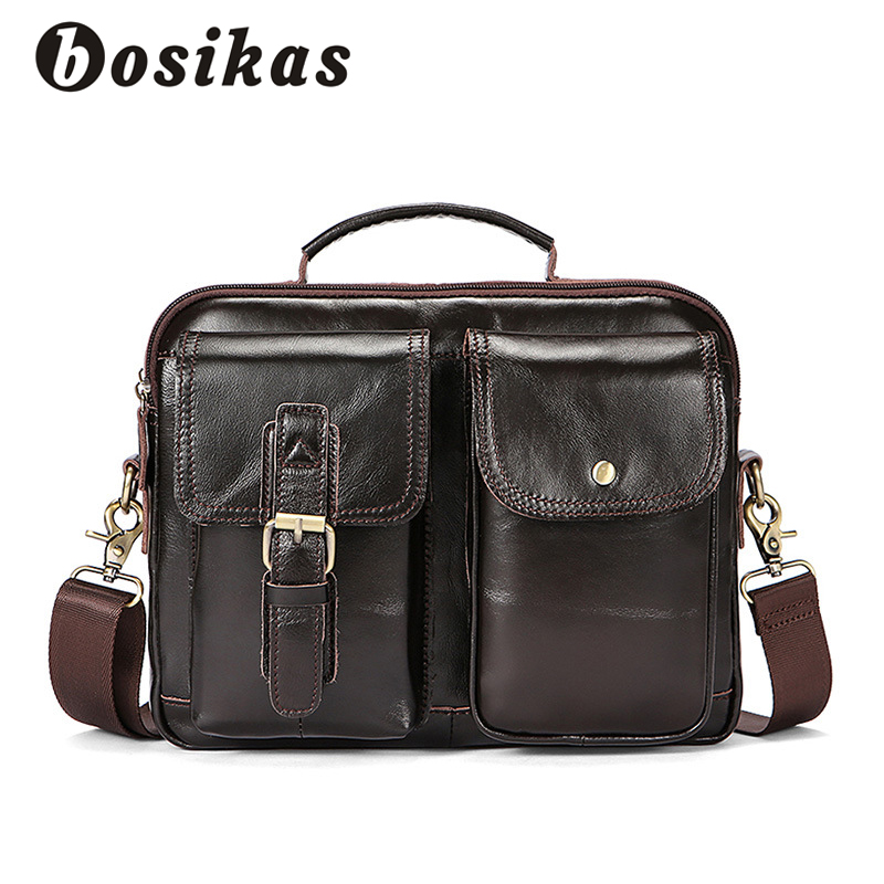 BOSIKAS Men Briefcases Genuine Leather Men's bags Crossbody Bags Casual Totes Laptop messenger bag men's shoulder bag handbags все цены