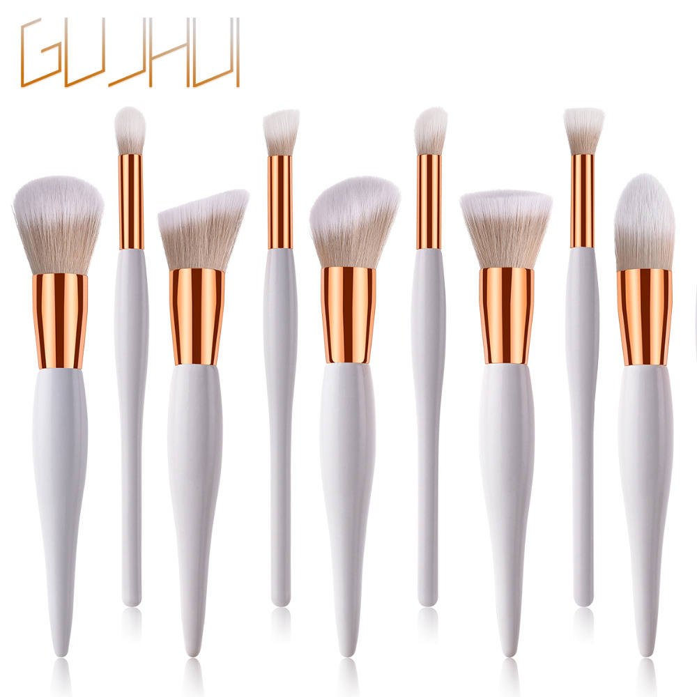 SALIYOO 10PCS Set/Kit Makeup Brushes Set Synthetic Hair Wood Handle Foundation Blush Powder Belly Shape Make Up Brush Tool