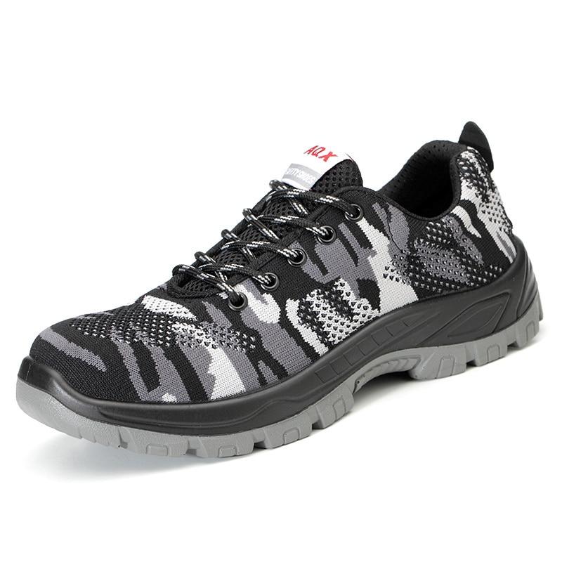 Для Мужчин's Сталь носком рабочие защитные ботинки, обувь; Воздухопроницаемый материал; Рабочая обувь анти-прокол противоскользящий дизайн Повседневное защитная обувь - Цвет: Black Style D