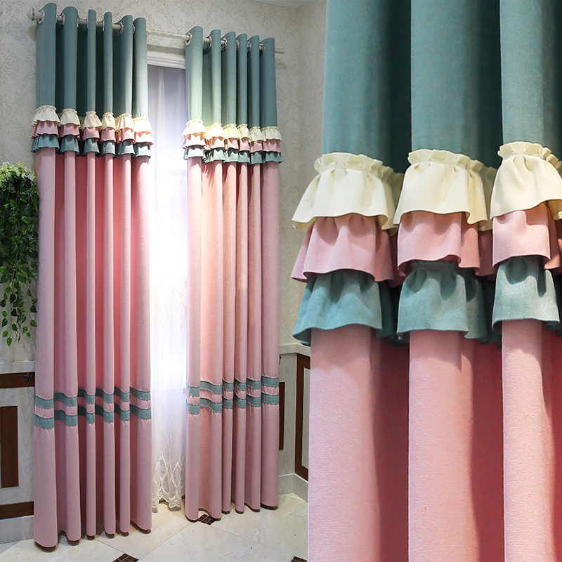 Blackout Curtains for Living Room Bedroom Korean Pink Green Curtain With Lace White Sheer Curtain Embroidery Tulle Girl Blinds