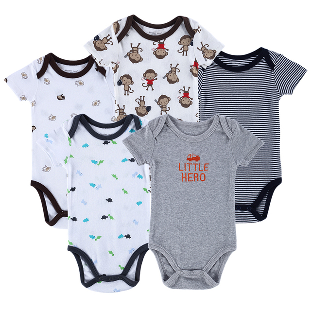 b03799de0ea Luvable Friends 5pcs  lot Baby Romper Hanging Blue Short Sleeve New Born  Baby Body Infantil Boy Girl Clothes Baby Clothing