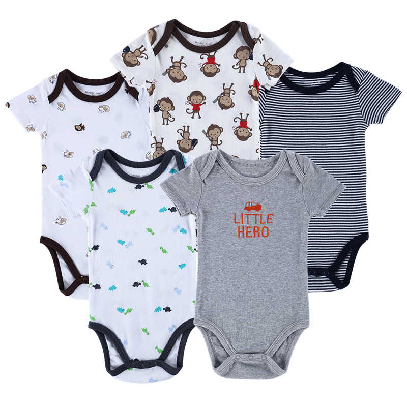 ae55669a4e95 Luvable Friends 5pcs  lot Baby Romper Hanging Blue Short Sleeve New Born  Baby Body Infantil