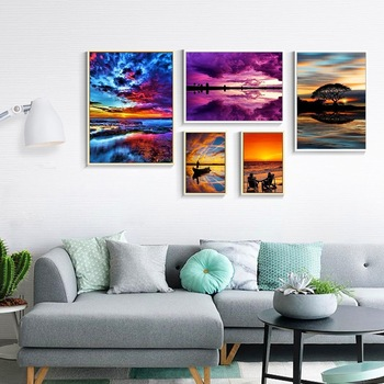 HUACAN Diamond Painting Full Drill Square Landscape 5D DIY Diamond Embroidery Seaside Sunset Picture Of