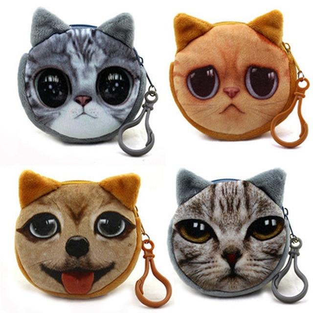 a5b4470bc0cf ALIEME Cat Plush Coin Purse Mini 3D Animals Prints Zipper Wallets Harajuku  Children Bag Women Billeteras