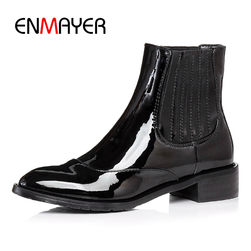 ENMAYER Women Ankle boots women pointed toe slip-on boots short boots square heel boots botas mujer Size 34-39 ZYL979ENMAYER Women Ankle boots women pointed toe slip-on boots short boots square heel boots botas mujer Size 34-39 ZYL979