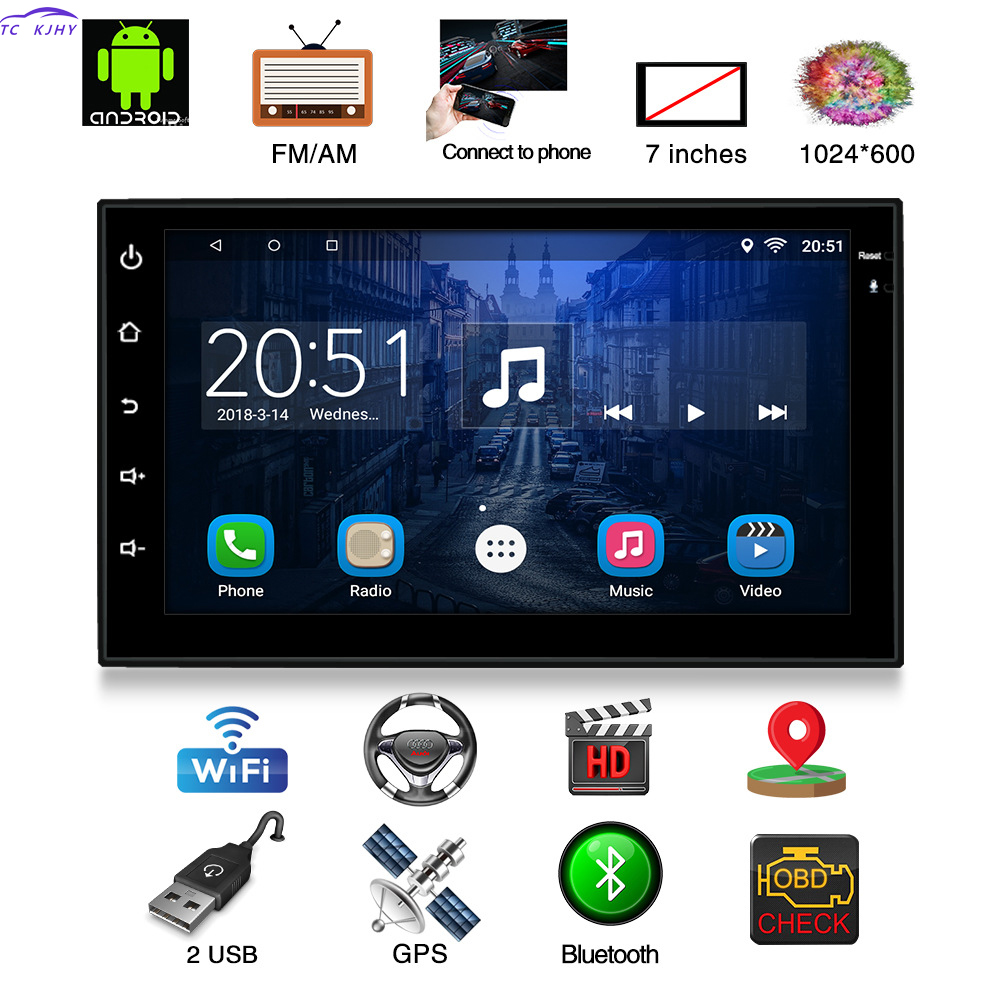 2018 NEW 2 Din Car Radio 7 Inches GPS Navigation Android Dvd Automotivo Player Bluetooth USB Reversing Dash Camera Mirror Link
