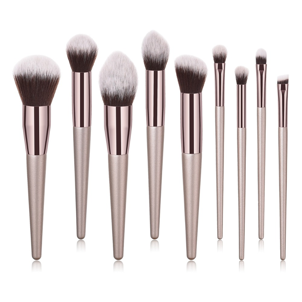BBL 4/9/10pcs Luxury Champagne Gold Makeup Brushes Set Reals Professional Powder Blusher Blender Brush Professional Beauty Tools