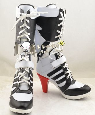 ФОТО Batman Suicide Squad Harley Quinn Movie Cosplay Costumes Shoes Boots High Heels Custom Made For Adult Women Halloween Party