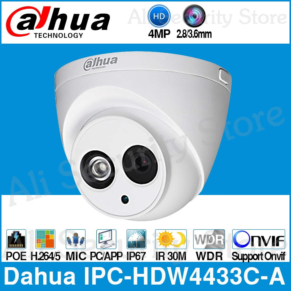 Dahua IPC HDW4433C A 4MP HD POE Network Starnight IR Mini Dome IP Camera Built in
