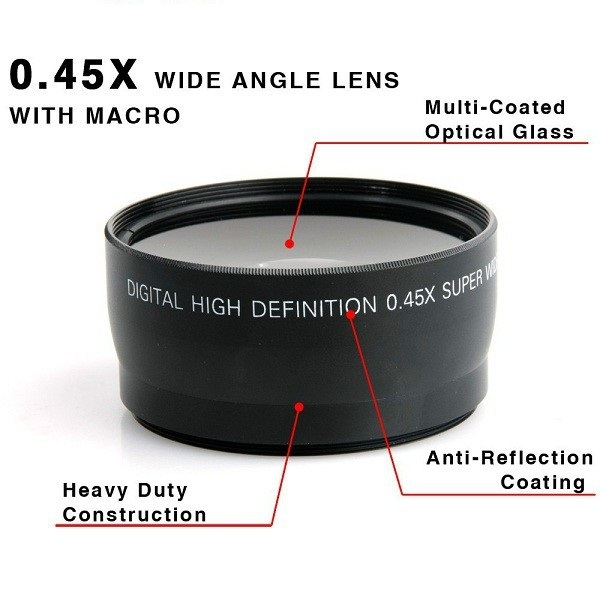 58MM 0.45x széles szögű objektív + makro objektív Canon EOS 350D / 400D / 450D / 500D / 1000D / 550D / 600D / 1100D Nikon Ingyenes szállítás