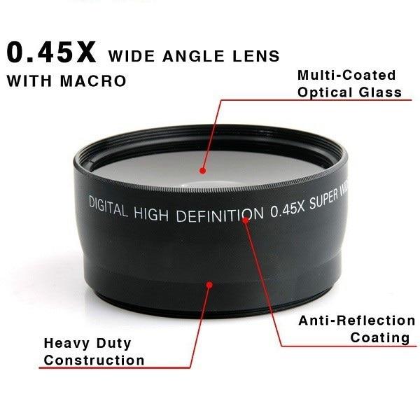 58MM 0,45x Ευρυγώνιος φακός + φακός μακροεντολής για Canon EOS 350D / 500D / 500D / 500D / 1000D / 550D / 600D / 1100D Δωρεάν αποστολή