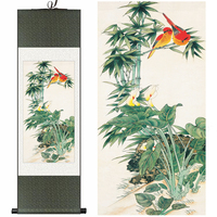 Chinese Silk watercolor flower and birds Bamboo calla lily feng shui ink art canvas wall picture damask framed scroll painting