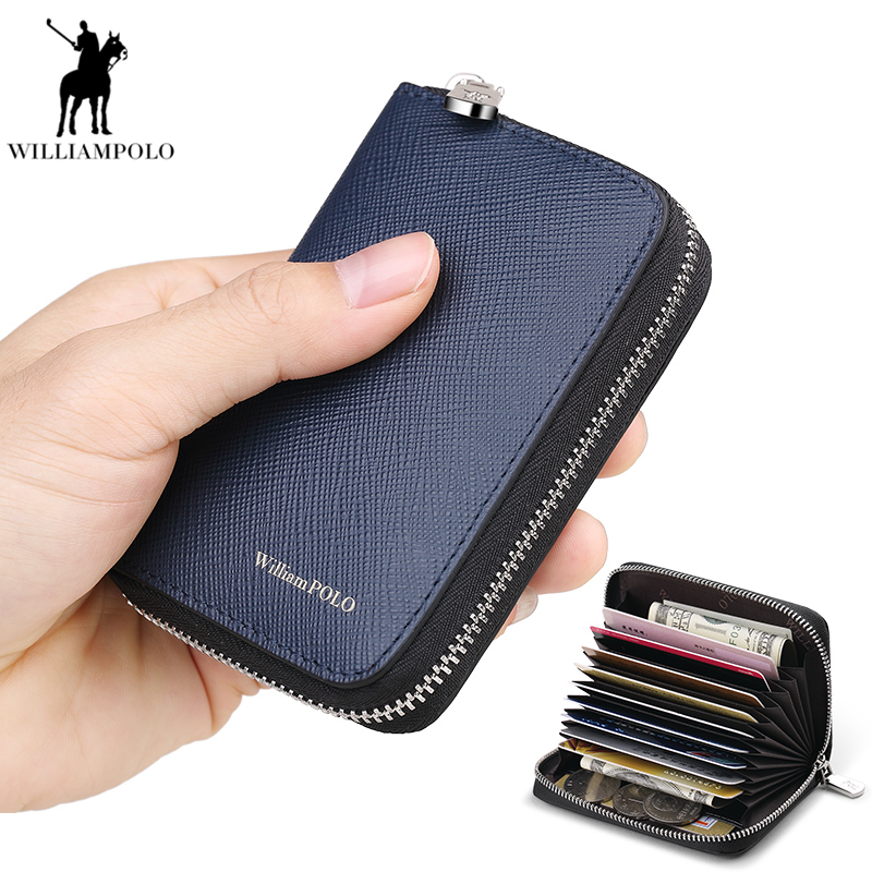 Williampolo Men Short Wallet Small Zipper Genuine Leather Credit Card Male Purse Unisex Card Holder Black Coin bag PL255