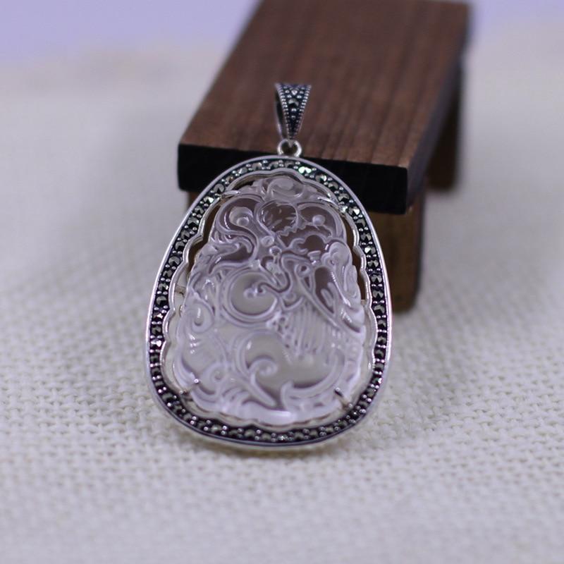 925 bijoux en argent pendentif en cristal blanc naturel925 bijoux en argent pendentif en cristal blanc naturel