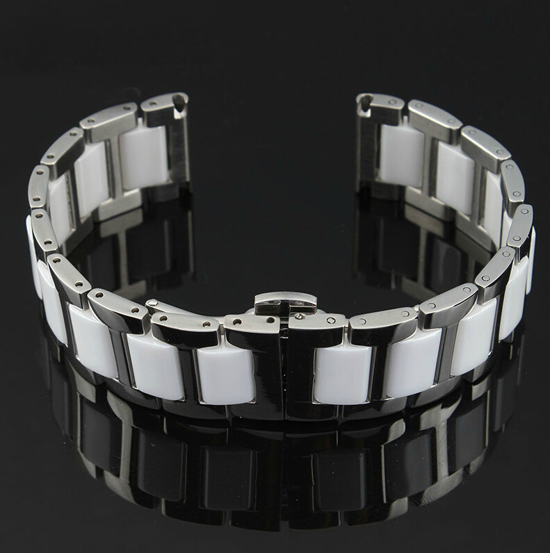 20mm Silver Stainless Steel Bracelet Watchband Double push watch buckle Free Shipping
