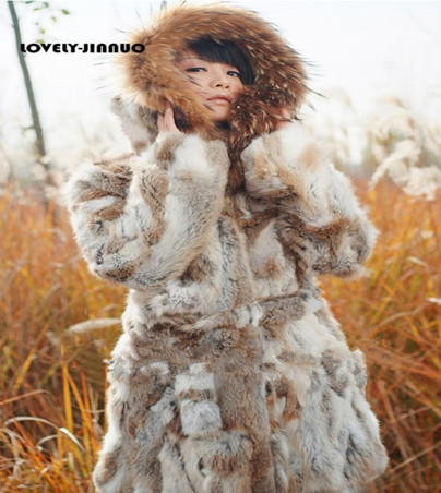 2018 EMS Free Shipping Women New Real Natural Rabbit fur Coat with Raccoon Fur Collar Jacket Female design Warm Winter TP141