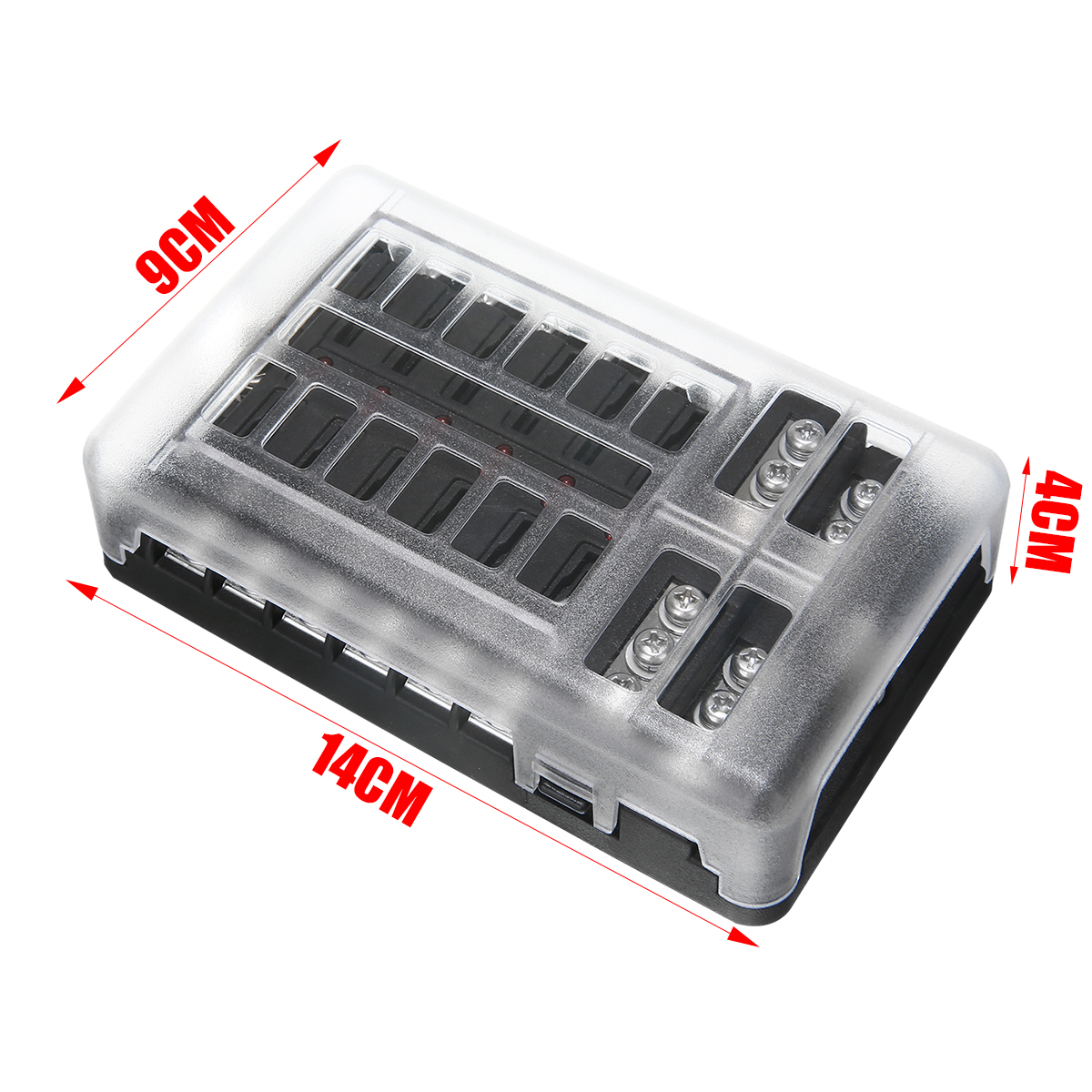 DC 12-32V 100A 12 Way Fuse Box Car Truck Boat Bus Power Distribution Block Double Busbars 12-way Fuse Box with screws&labels