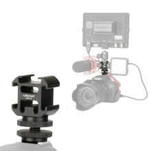 Aluminium Flash Hot Shoe Mount Holder Triple Mounts Microphone Bracket LED Monitor Stand for Nikon Canon DSLR Camera(China)