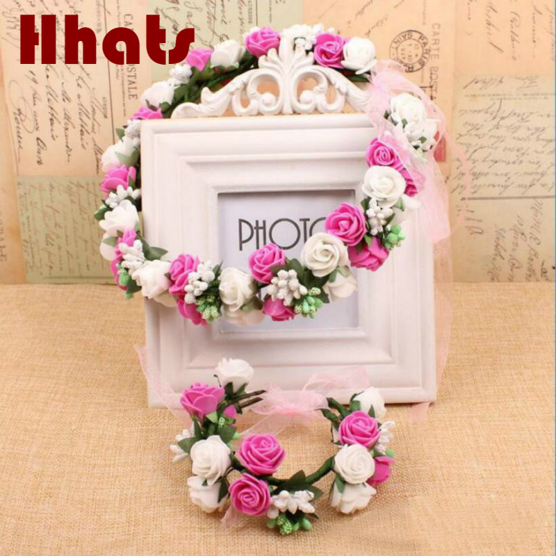 handmade festival party hair accessories for women foam flower crown artificial flower bridal headwear wristband set girl female