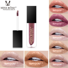 MISS ROSE 7 color pearl gloss lip is not easy to stick cup lose waterproof dazzle glaze makeup