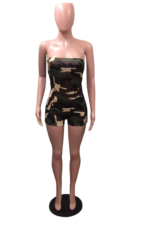 803f363cb87 Women summer jumpsuit short strapless camouflage print sexy bodysuit ...