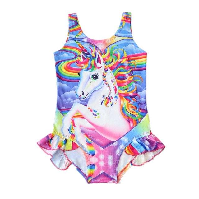 Musim panas Putri Gadis Bikini One Piece Pakaian Renang Anak Bayi Perempuan Unicorn Unicorn Rainbow Horse Swimsuit 2-7 Tahun D0843