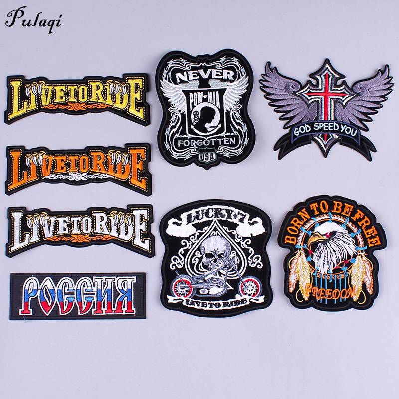 Pulaqi Diy Biker Patches Eagle Clothes Badges Sew On Iron-on Embroidery Sticker Skull Punk Patch Stripes