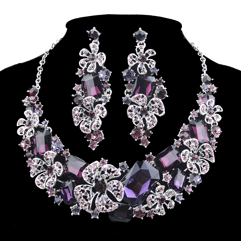 Fashion Bridal Jewelry Sets purple Rhinestone wedding Party decoration crystal Necklace Earrings for women girl Flower Jewelry new fashion multicolor crystal exaggerated flower shape necklace and earrings sets for women party bridal wedding jewelry sets