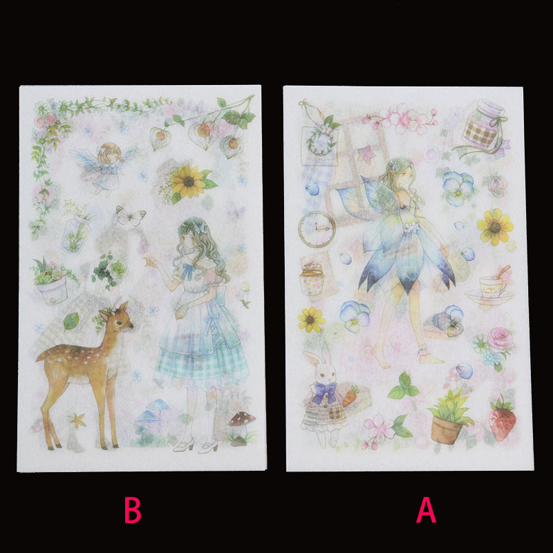6 Pieces/bag, Fairy Flower Fairy Sticker Student Diary Cartoon Sticker Transparent Stationery Learning Day Scrapbook Gift