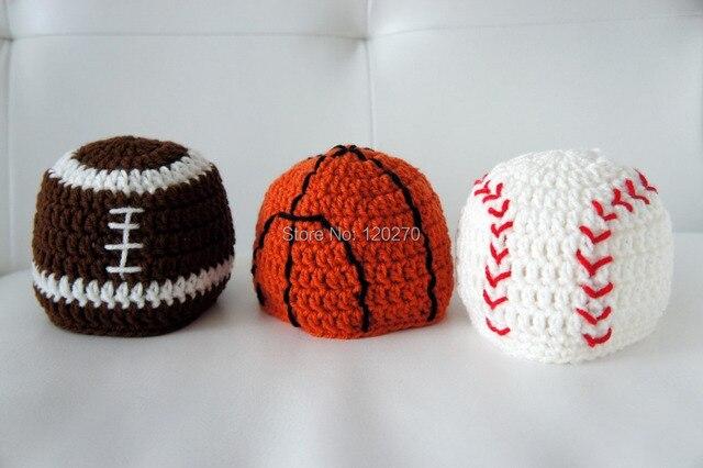 Free Shipping Crochet Knitted Cap Baseball Basketball Soccer Hat Newborn Infant  Toddler Kids Football Hat Children Beanie Cotton 99655d361