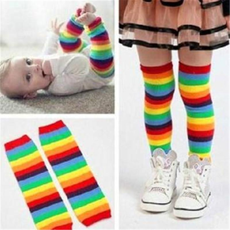 Ephex Baby Leg Warmer Toddler Kids Boy Winter Leg Warmer Cotton Protectores Colorful High quality Sunny Rainbow Stripes Socks