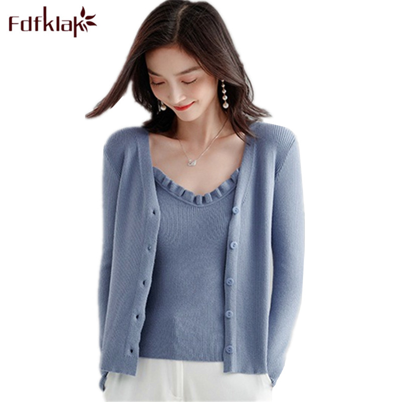 Fdfklak pull femme hiver new sexy knit sweater women autumn winter cardigan women sweaters two piece set women's knitted top