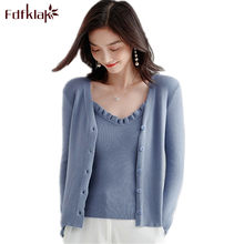 Fdfklak pull femme hiver new sexy knit sweater women autumn winter cardigan women sweaters two piece set women's knitted top(China)