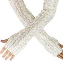 Женские шерстяные перчатки без пальцев на весну и осень, теплые зимние модные вязаные перчатки с пуговицами, длинные перчатки guantes, тактические перчатки