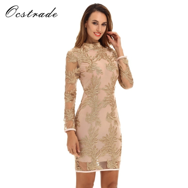 Ocstrade Runway Womens Fashion Gold Turtleneck Long Sleeve Mini Sequined  Lace Party Bodycon Dress 37dd1a672e32