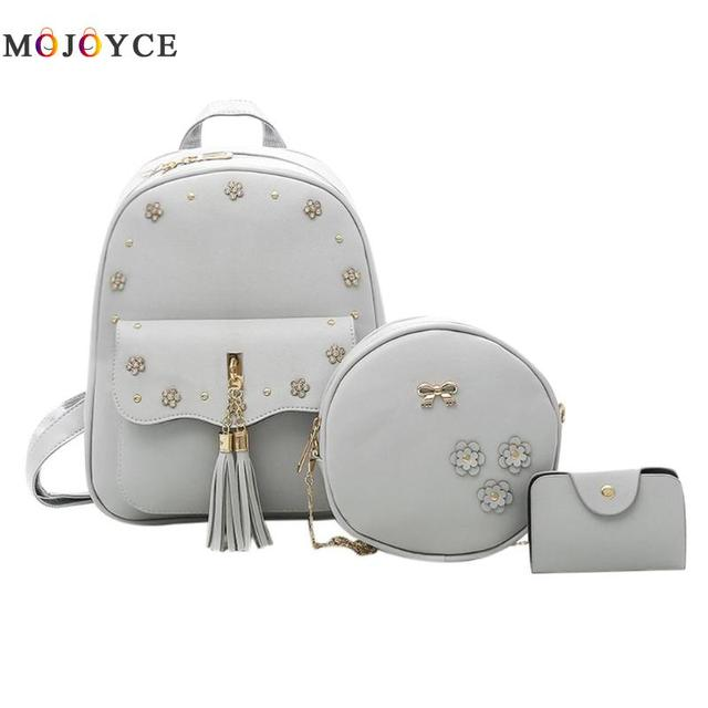 aa82fae6d4 3pcs Set PU Leather Women Backpack Flowers Tassel School Shoulder Bagpack  Round Composite Leather Back pack
