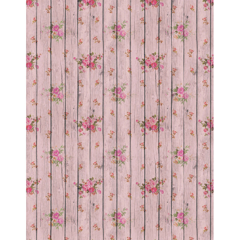 Custom vinyl cloth pink floral wood floor photographic backgrounds for newborn portrait photo photography backdrops props S-2617 custom vinyl cloth wood timber wall
